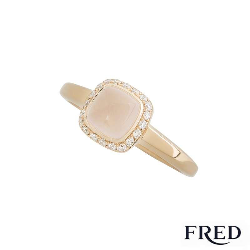 Fred 18k Rose Gold Diamond and Rose Quartz Pain de Sucre Ring